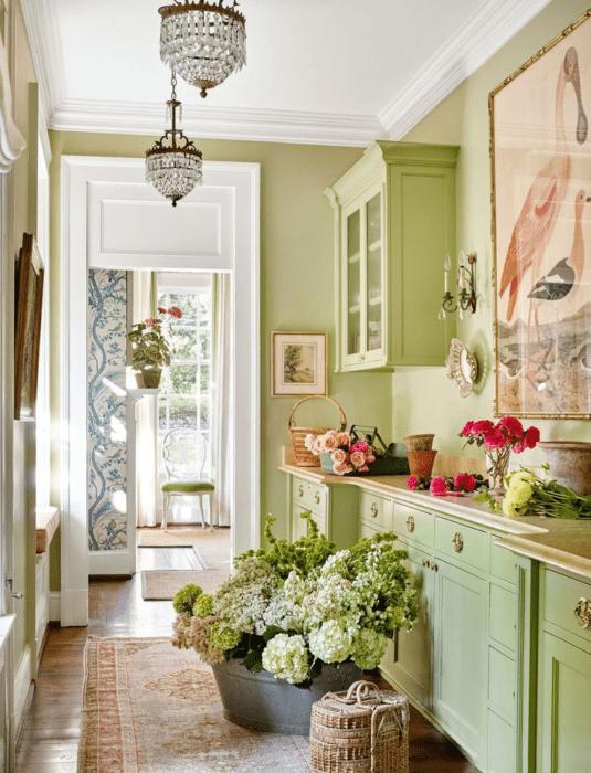 Дизайн зеленой кухни