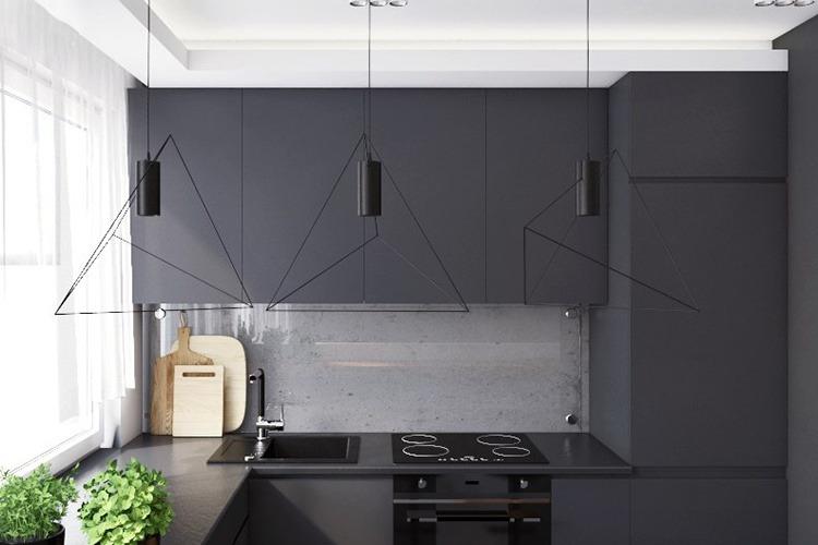 черная матовая кухня