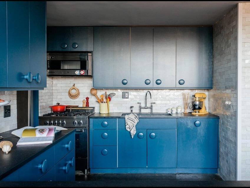 синяя кухня сочетания цветов