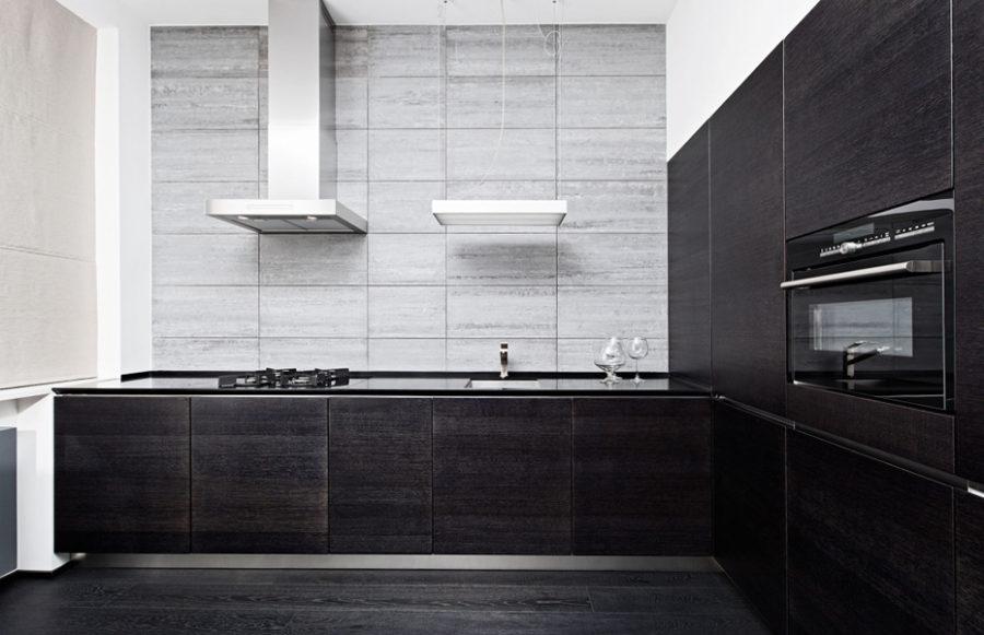 черно белая кухня дизайн кухня с черным полом