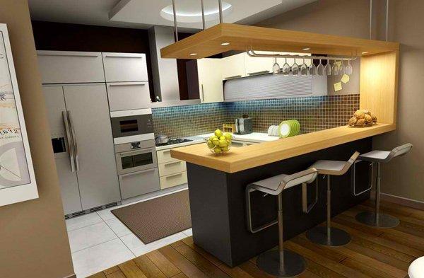 кухня с барной стойкой в частном доме