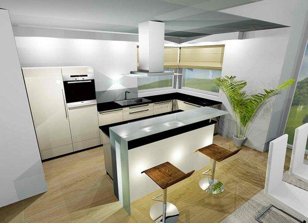 кухни совмещенные с гостиной с барной стойкой