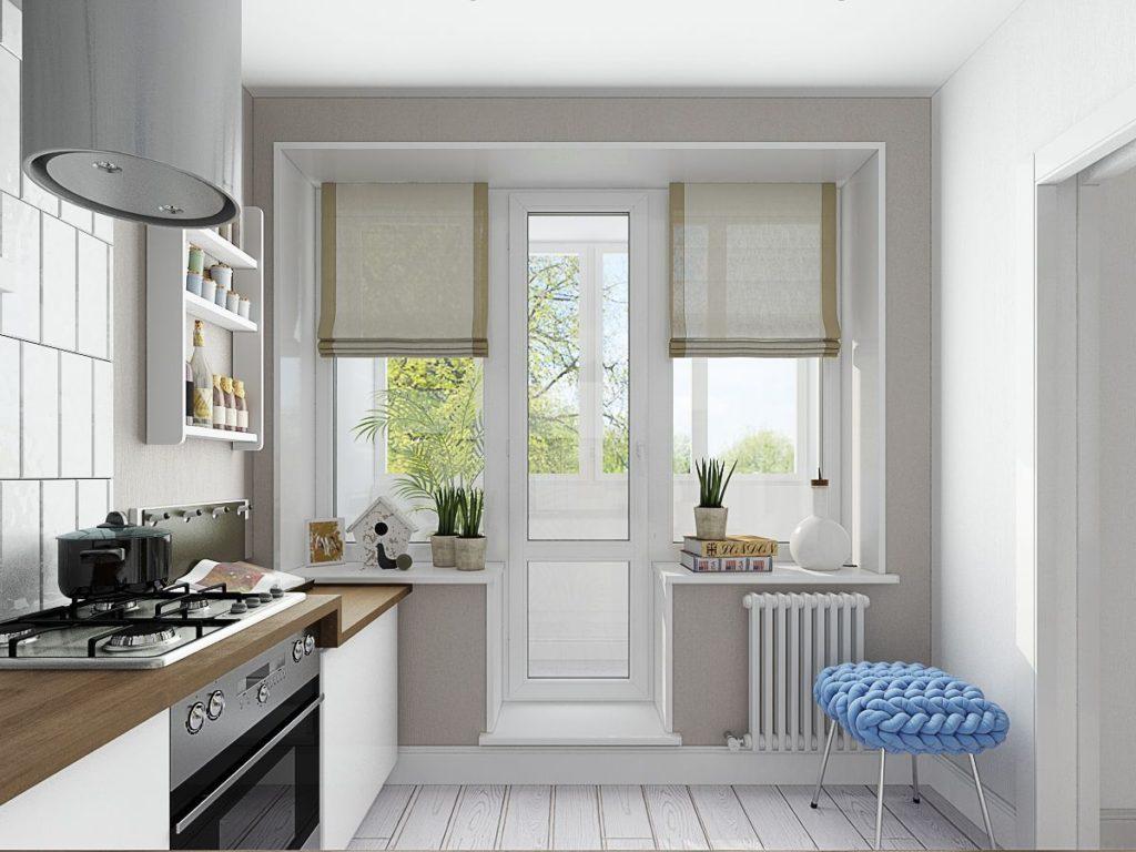 белая кухня занавески