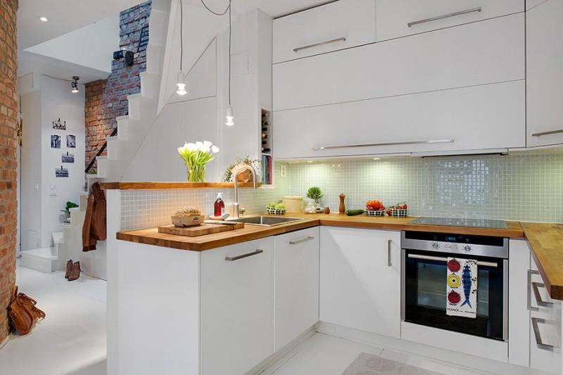 скандинавская белая кухня