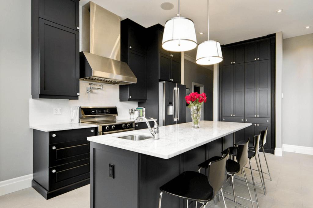 современная черно белая кухня