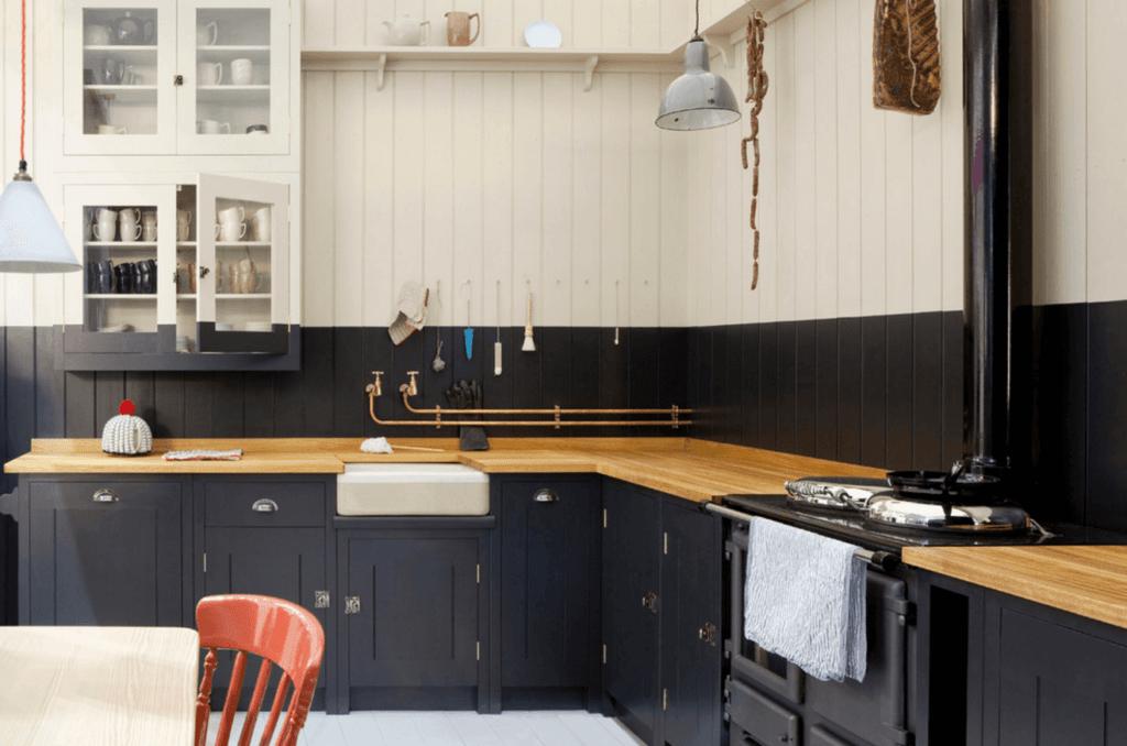 черно бело деревянная кухня
