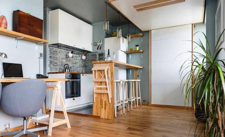 как отделить кухню в студии