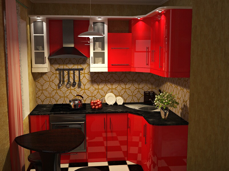 фартук для кухни красного цвета