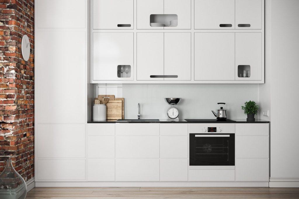 белый современный кухонный гарнитур