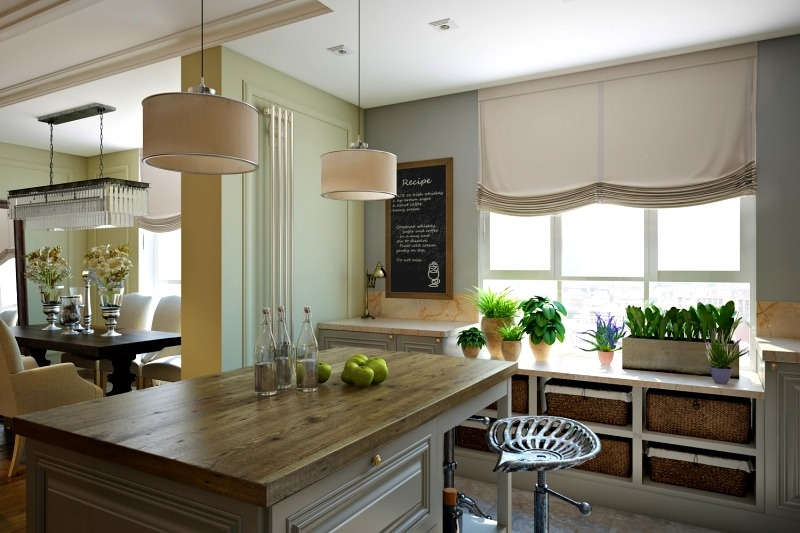 кухня с большим окном в частном доме