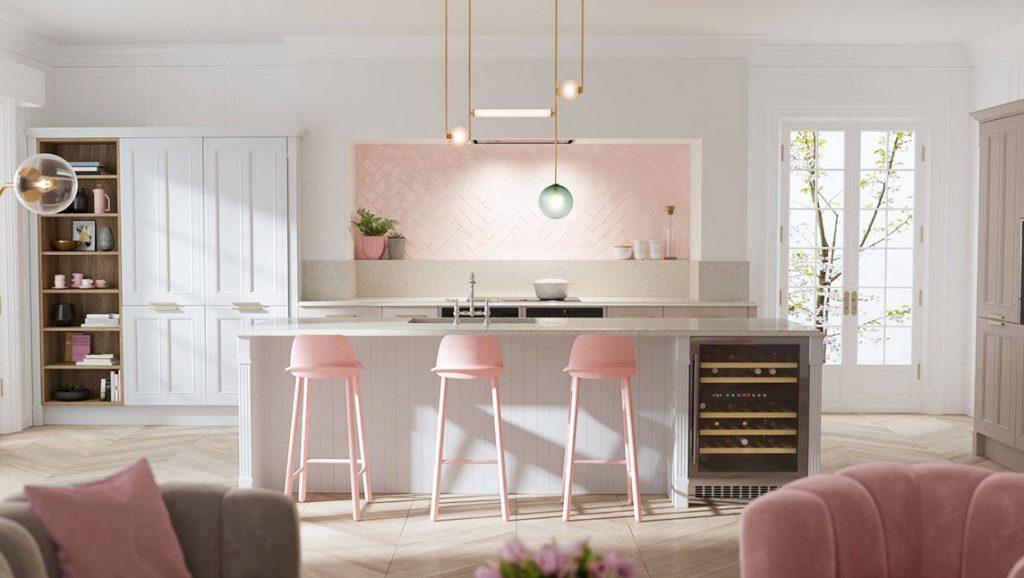 светло розовая кухня