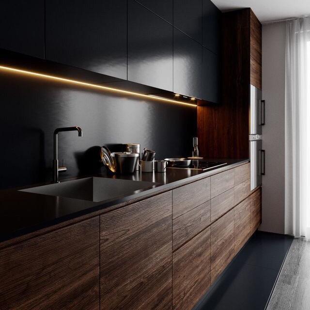 черный кухонный гарнитур в интерьере