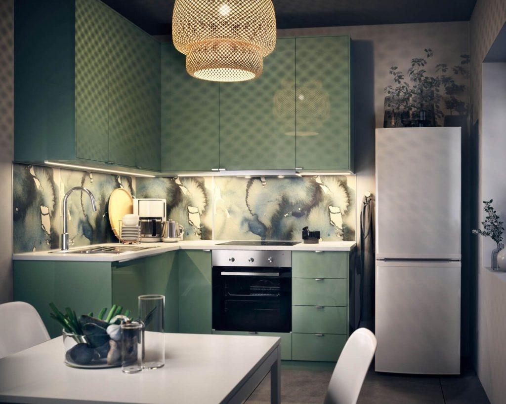 кухня зеленый цвет сочетание