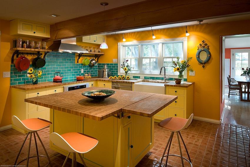 кухни в желтых цветах