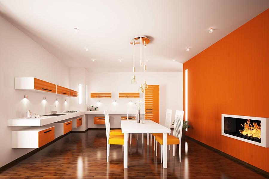 оранжевая кухня в интерьере фото