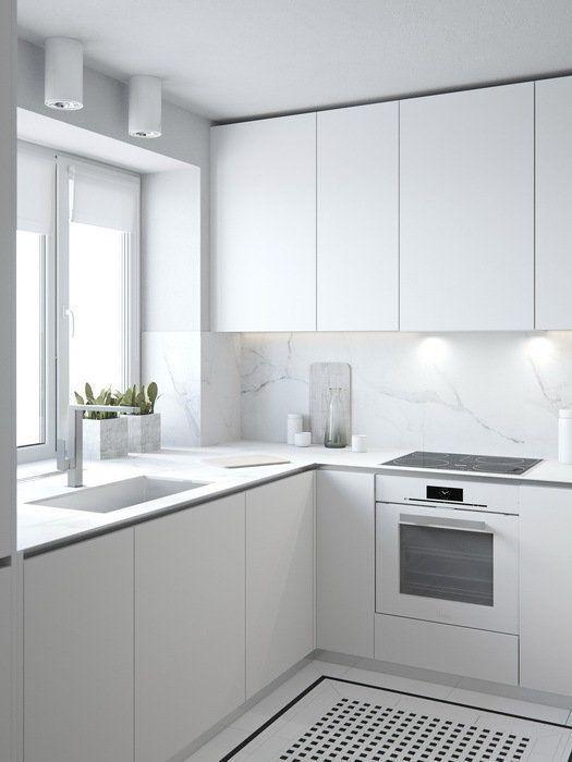 белые кухонные гарнитуры для маленькой кухни