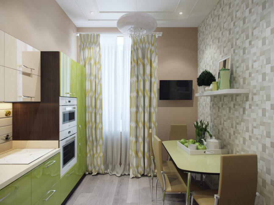 зеленый цвет в интерьере кухни