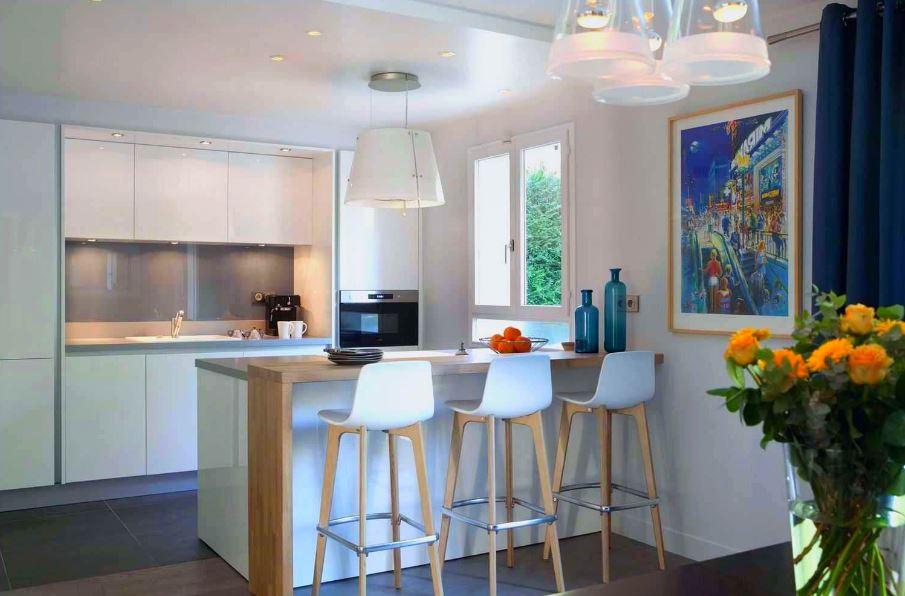 кухни с барными стойками дизайн в интерьере