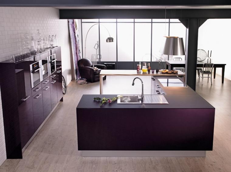 фиолетовая кухня какие обои