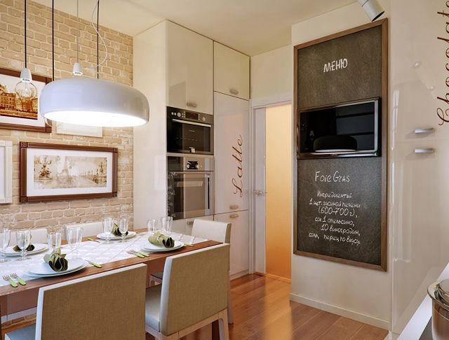 дизайн маленькой кухни с телевизором