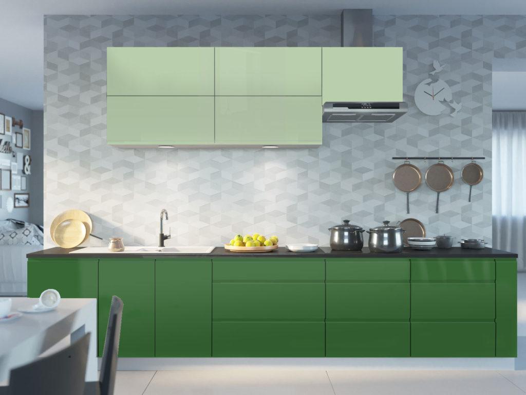 кухня с зелеными фасадами
