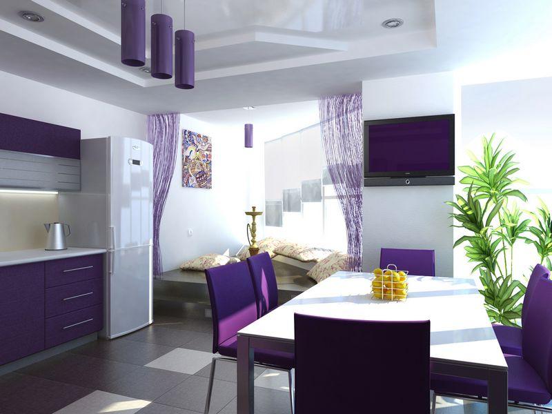 шторы под фиолетовую кухню