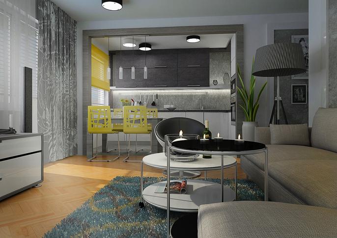 современные кухни гостиные фото