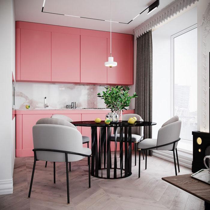 кухня в розовом стиле