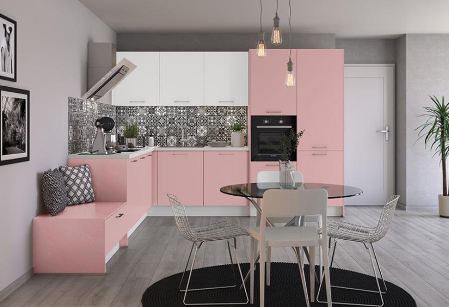 кухня в серо розовых тонах