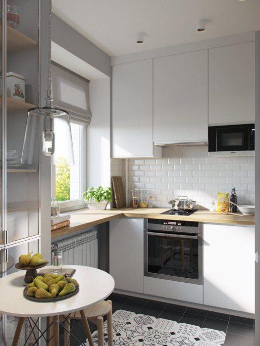 визуально увеличить пространство кухни