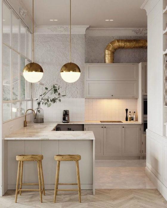 кухни бежевых цветов фото