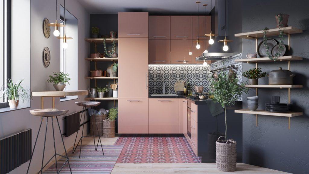 цвет гарнитура для маленькой кухни