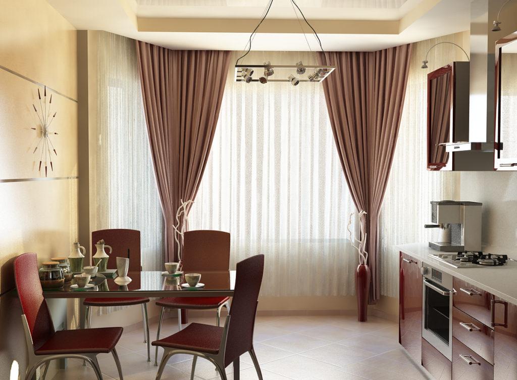 шторы в интерьере кухни
