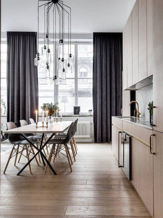 темные шторы на кухню