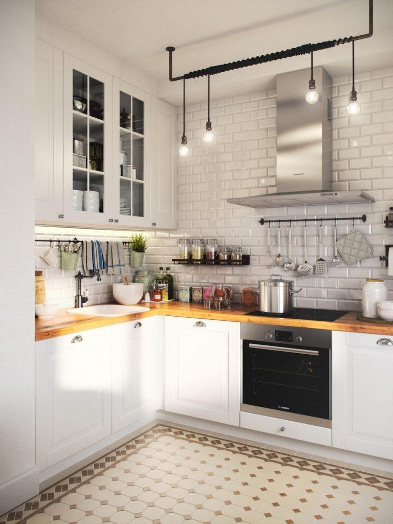 отделка кухни декоративным камнем