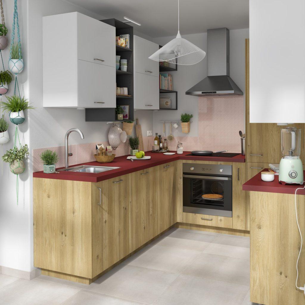 дизайн кухни под дерево