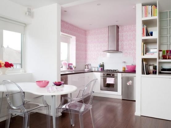 розовый кухонный фартук
