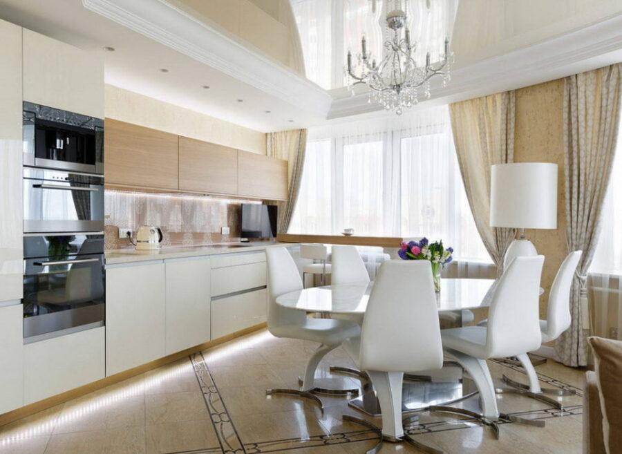 современные идеи штор на кухню
