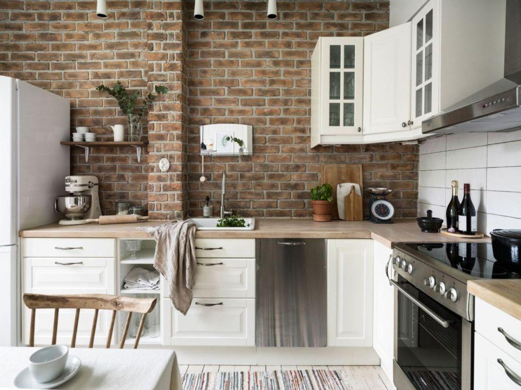 кирпичная отделка на кухне