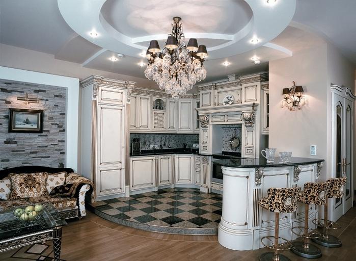 интерьер классической кухни в стиле барокко