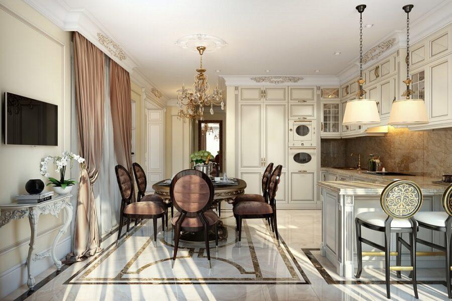 барокко кухня гостиная