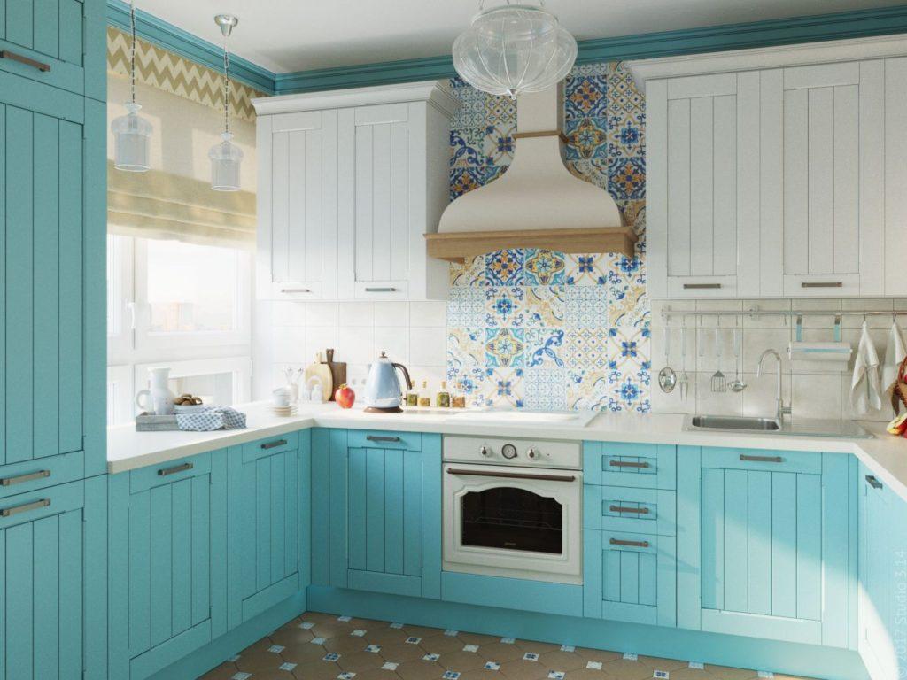 сочетания бирюзового цветов в интерьере кухни