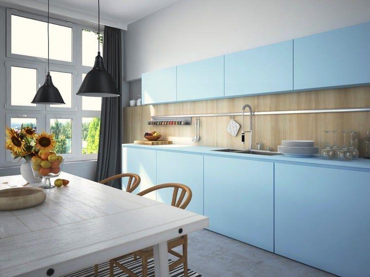 кухня голубая синь
