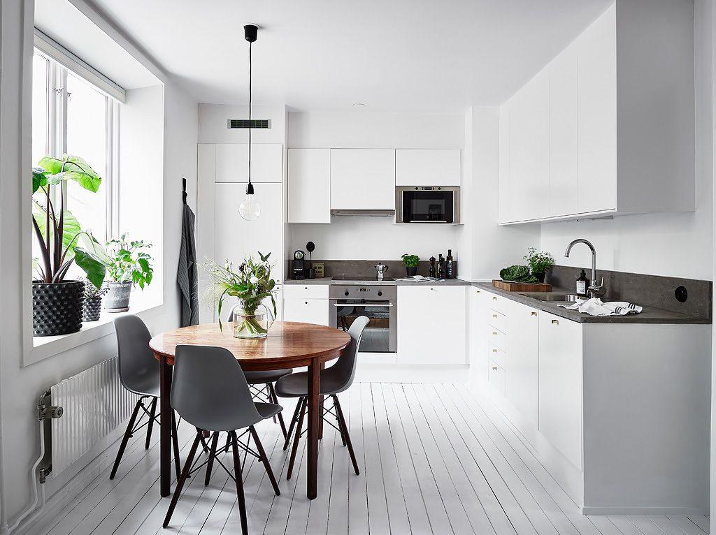 кухня белая минимализм