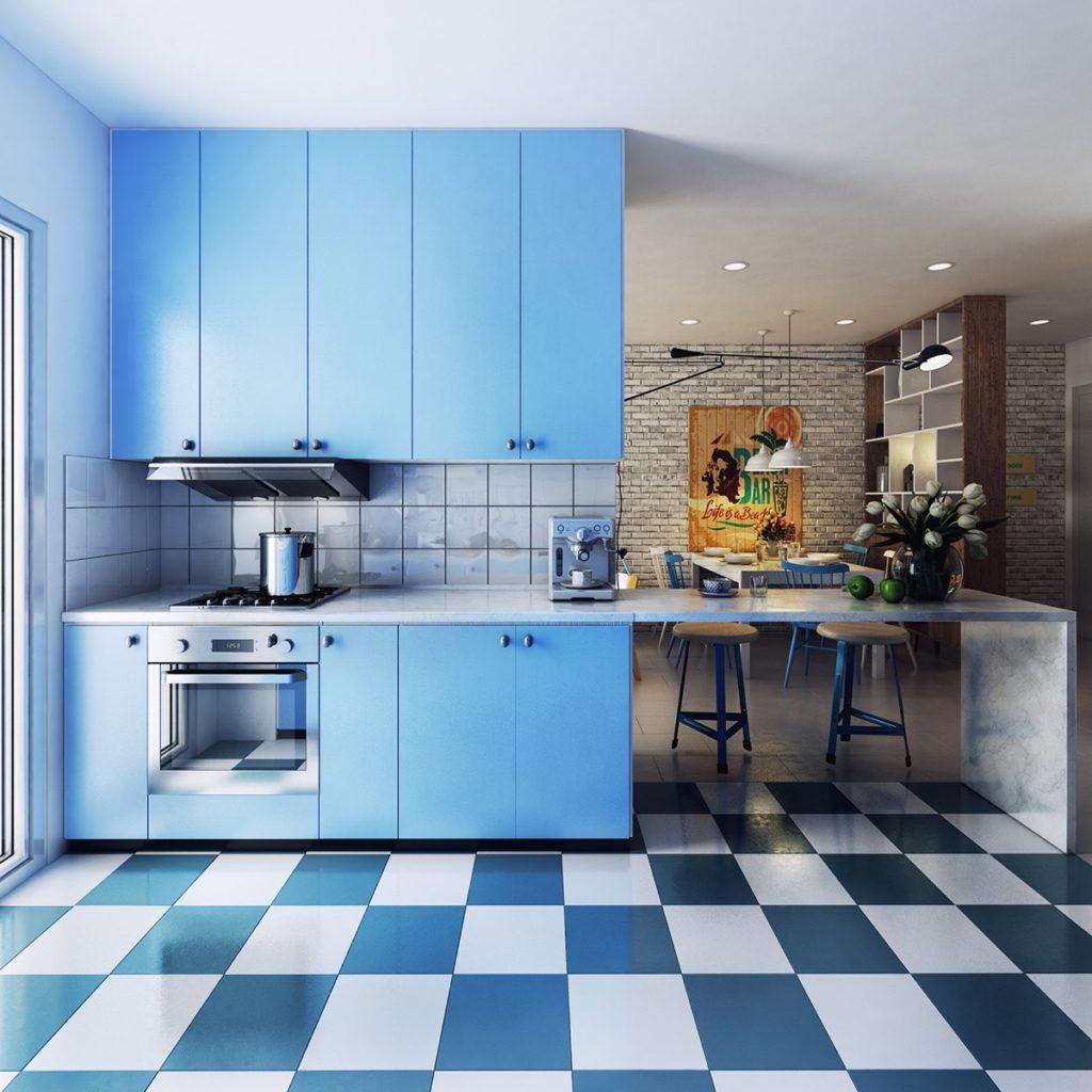 маленькая голубая кухня