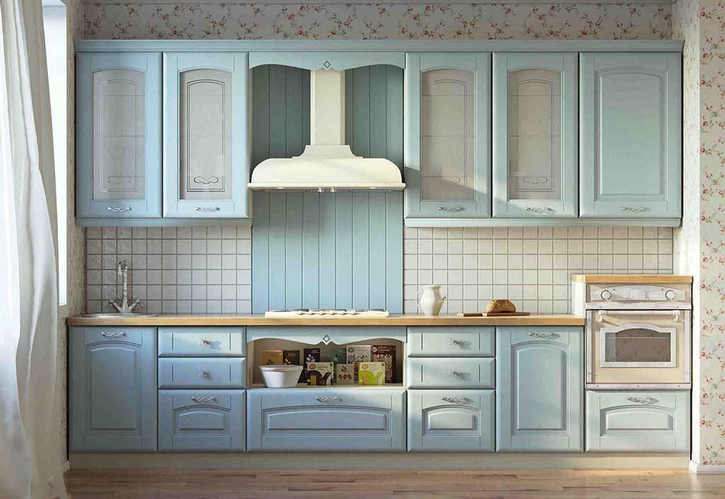 голубая кухня какие обои