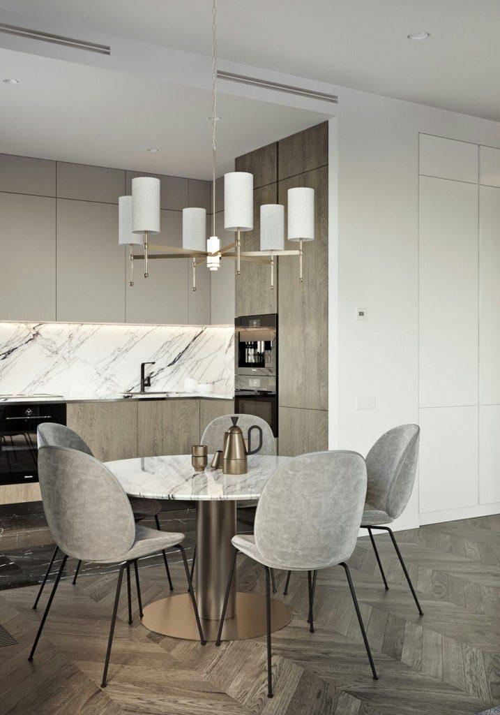 кухня в сочетании с серым цветом