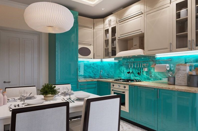 бирюзовый кухонный фартук