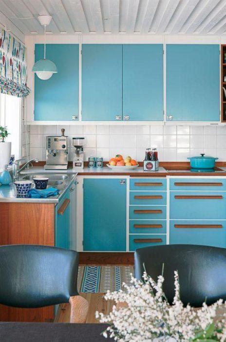 кухни голубая патина