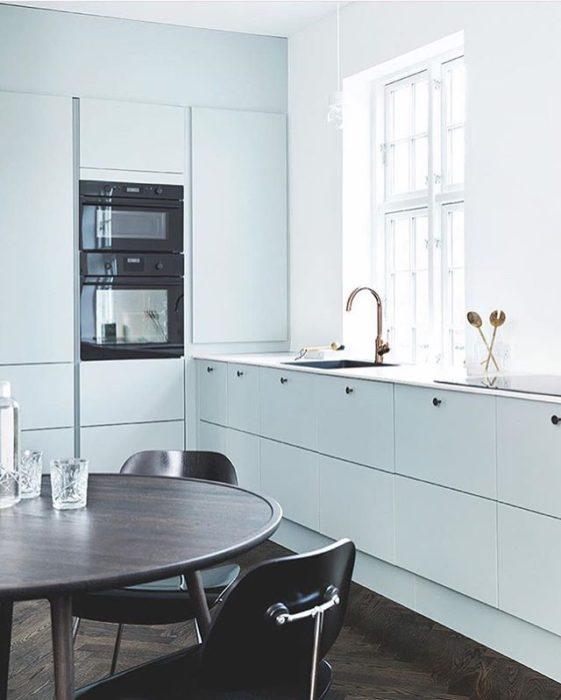 голубые оттенки кухонь